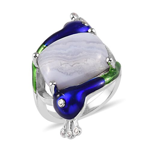 Blue Lace Agate Peacock Ring in Platinum Plated 6.00 Ct.
