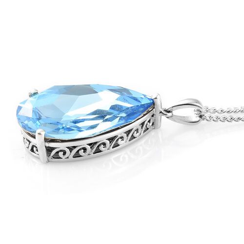 J Francis Crystal from Swarovski - Aquamarine Colour Crystal (Pear 30x20 mm) Pendant With Chain (Size 30) in Platinum Overlay Sterling Silver, Silver wt 9.00 Gms.