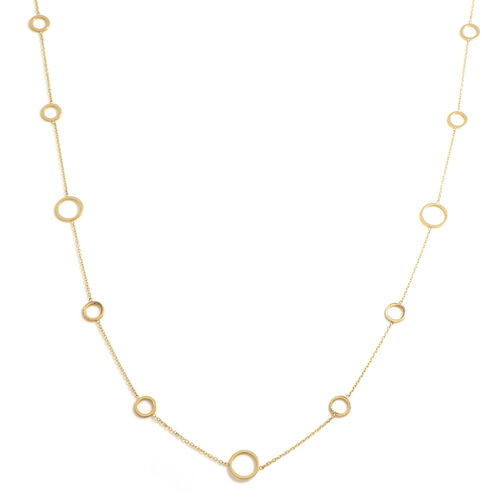 Italian Made - 9K Yellow Gold Circle Eclipse Necklace (Size 24)
