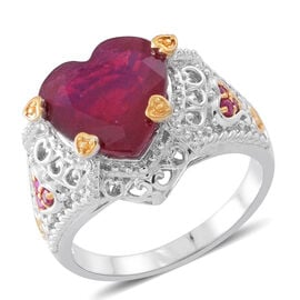 8.35 Ct African Ruby and Ruby Heart Solitaire Ring in Rhodium and 14K Gold Plated Silver 6.45 Grams
