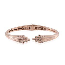 J Francis - Rose Gold Overlay Sterling Silver (Rnd) Bangle (Size 7.5) Made with SWAROVSKI ZIRCONIA
