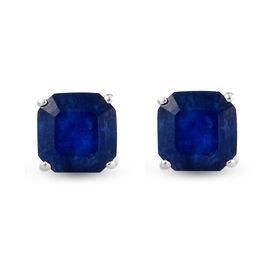 Masoala Sapphire (Very Rare Asscher Cut) Stud Earrings (with Push Back) in Sterling Silver 3.21 Ct.