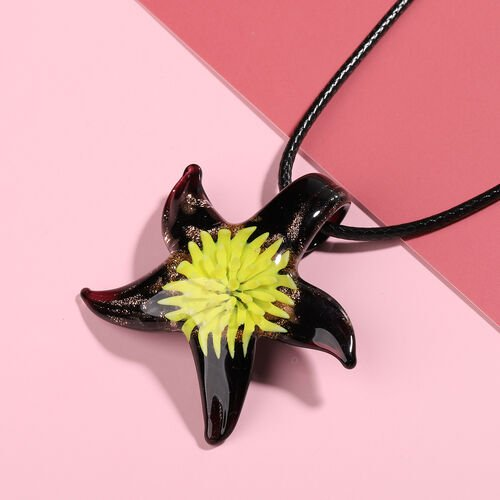 Yellow Murano Glass Starfish Pendant with Chain (Size 24 with 2 inch Extender)