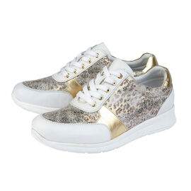 Lotus White & Leopard-Print Leather Florence Lace-Up Trainers