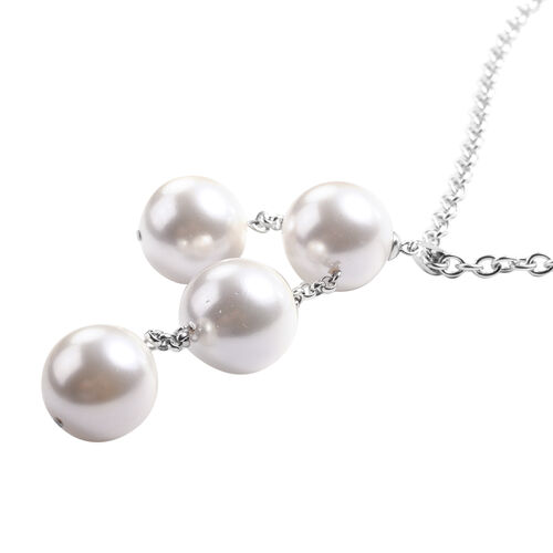 2 Piece Set - White Shell Pearl Necklace (Size 20) and Stud Earrings