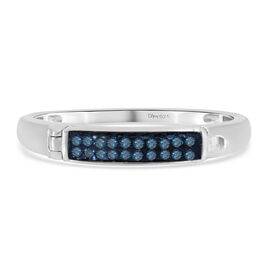 Blue Diamond Ring in Platinum Overlay Sterling Silver 0.10 Ct.