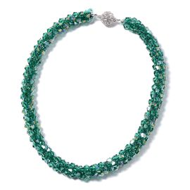 Green Magic Color Glass and White Crystal Beaded Necklace 20 Inch