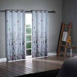SERENITY NIGHT Set of 2 -  Flower Pattern Blackout Curtain with 8 Eyelets and LED Band  - Lavender & Multi