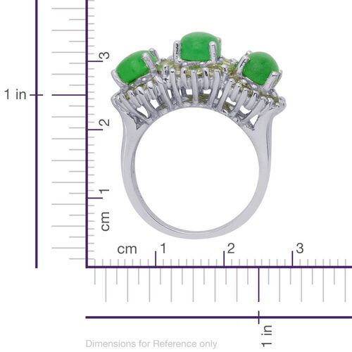 Enhanced Green Jade (Ovl), Hebei Peridot Ring in Platinum Overlay Sterling Silver 4.750 Ct.