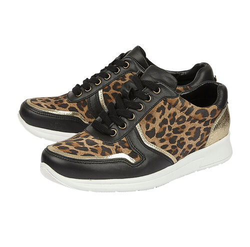 Lotus Stressless Black Leather & Leopard Sabina Casual Trainers (Size 4)
