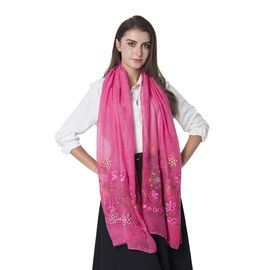 Designer Inspired- Rose Red Colour Rose Pattern Shawl with Golden Colour Sequin (Size 182x68.5 Cm)