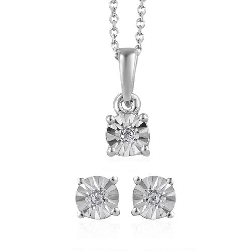 2 Piece Set - Diamond (Rnd) Stud Earrings (With Push Back) and Pendant With Chain (Size 20) in Platinum Overlay Sterling Silver
