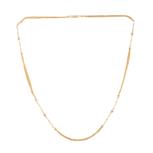 Vicenza Collection 14K Gold Overlay Sterling Silver Multi Strand Beads Necklace (Size 24), Silver wt. 7.30 Gms.