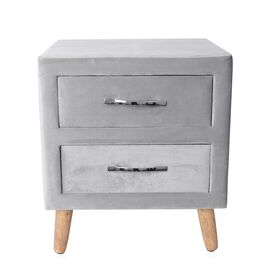 Wooden Upholstered Cabinet with 2 Drawer (Size 50x44x40 Cm) - Grey