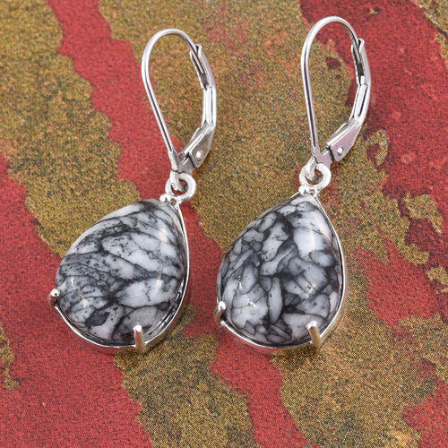 Austrian Pinolith (Pear) Lever Back Earrings in Platinum Overlay Sterling Silver 17.500 Ct.