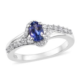 1 Carat Tanzanite and Zircon Halo Design Ring in Platinum Plated Sterling Silver