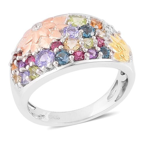 Designer Inspired Colours of Life Ring in Rhodium, Yellow and Rose Gold Overlay Sterling Silver
