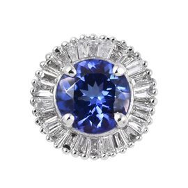 RHAPSODY 1 Carat AAAA Tanzanite and Diamond Halo Pendant in 950 Platinum