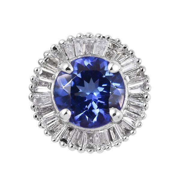 RHAPSODY 1 Carat AAAA Tanzanite and Diamond Halo Pendant in 950 Platinum