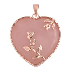 Rare Size Galilea Rose Quartz (Hrt 25MM) Rose Motifs Heart Pendant in Rose Gold Overlay Sterling Silver 33.750 Ct.
