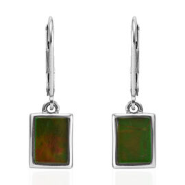 AA Canadian Ammolite (Bgt) Lever Back Earrings in Platinum Overlay Sterling Silver
