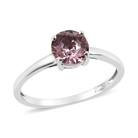 J Francis - Platinum Overlay Sterling Silver (Rnd) Solitaire Ring  Made with Pink SWAROVSKI ZIRCONIA
