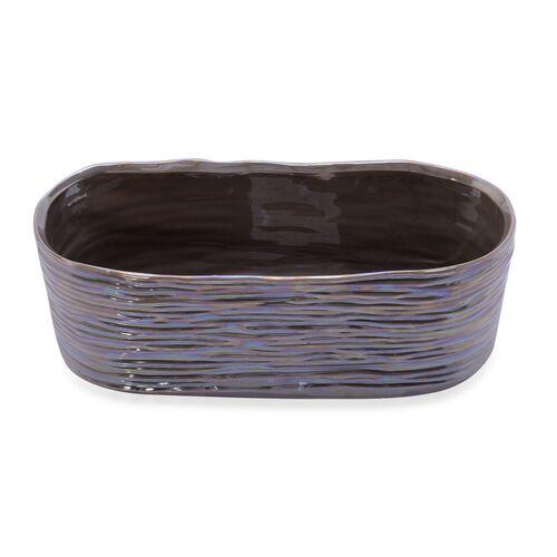 Glossy Grey Colour Stoneware Flower Pot (Size 26x10 Cm)