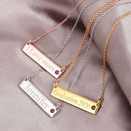 Personalised Engraved Name and Birthstone Necklace in Silver