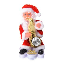 Christmas Decorations Singing Santa Claus with Saxophone (Size 20x10 Cm)