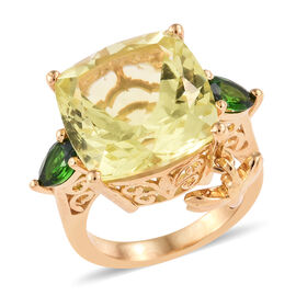 GP Natural Ouro Verde Quartz (Cush 14X14), Russian Diopside and Kanchanaburi Blue Sapphire Ring with Dragon Fly Charm in 14K Gold Overlay Sterling Silver 12.000 Ct, Silver wt: 5.28 Gms.