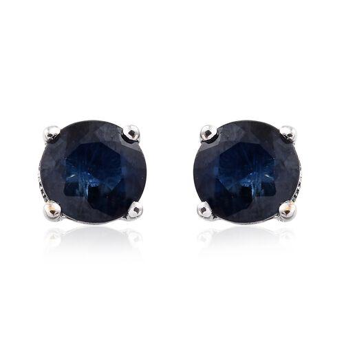 9K White Gold 0.60 Carat AAA Kanchanaburi Blue Sapphire (Rnd) Stud Earrings (with Push Back)