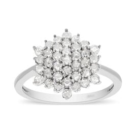 Monster Deal- 14K White Gold SGL Certified Natural Diamond (I1/G-H) Cluster Ring 1.00 Ct.