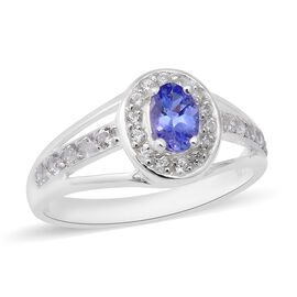 Tanzanite (Ovl 6x4mm), Natural Cambodian Zircon Ring in Rhodium Overlay Sterling Silver 1.01 Ct.