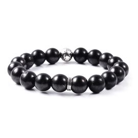 TJC Launch- Shungite Mens Stretchable Bracelet  in Sterling Silver 113.18 Ct.