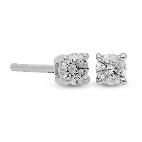 9K White Gold SGL Certified Diamond (I3/G-H) Stud Earrings (with Push Back) 0.25 Ct.