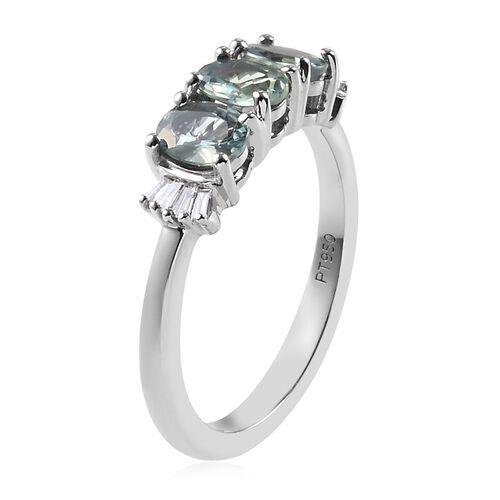 RHAPSODY 950 Platinum AAAA Narsipatnam Alexandrite and Diamond  (VS/E-F) Ring 1.05 Ct.