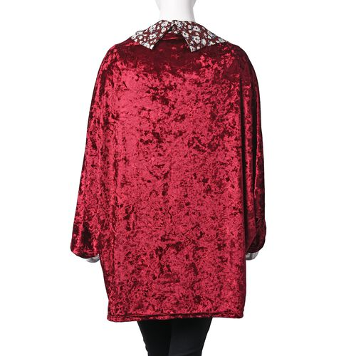 Wine Red, White and Multi Colour Flower Pattern Bat Sleeve Kimono (Free Size)