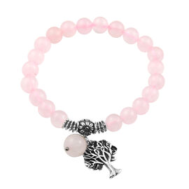 Rose Quartz Tree of Life Lucky Charm Beaded Stretchable Bracelet 7 to 7.5 Inch