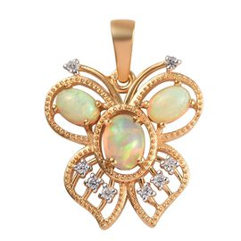 Ethiopian Welo Opal (Ovl), Natural Cambodian Zircon Butterfly Pendant  in 14K Gold Overlay Sterling