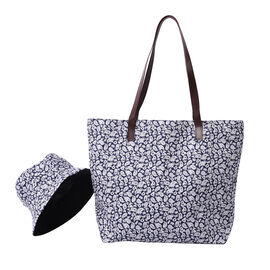 Navy and White Paisley Pattern Tote Bag with Zipper Closure (45x12x35cm) with FREE Matching Hat
