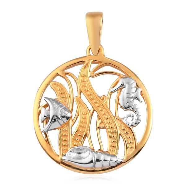 Platinum and Yellow Gold Overlay Sterling Silver Sea World Pendant