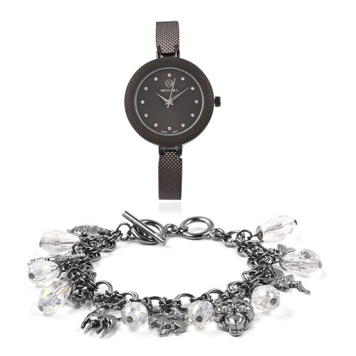2 Piece Set- STRADA Japanese Movement Simulated White Diamond and White Austrian Crystal Studded Water Resistant Watch and Bracelet (Size 8)