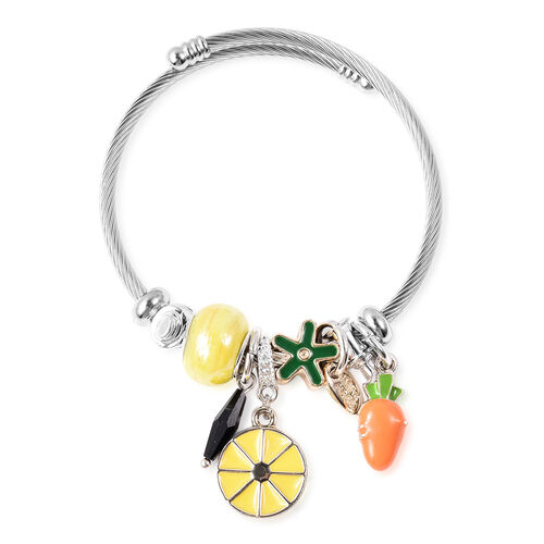 Simulated Yellow Bead and Black Spinel Adjustable Enamelled Charm Bracelet (Size 6-7) in Silver Tone