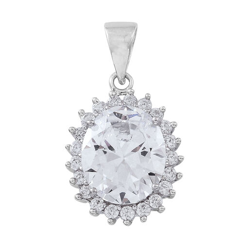 ELANZA Simulated White Diamond (Ovl) Pendant in Rhodium Plated Sterling Silver, Silver wt 3.47 Gms.