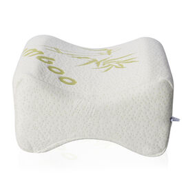 Memory Foam Knee Pillow Infused with Cooling Gel & Bamboo Cover (20x15x25.5cm) - White