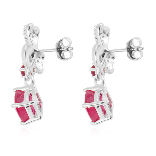 African Ruby (Cush and Rnd ), Natural White Cambodian Zircon Earrings in Rhodium Overlay Sterling Silver 7.770 Ct.