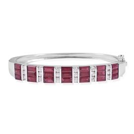 Extremely Rare Cut African Ruby (Bgt), Natural White Cambodian Zircon Bangle (Size 7.5) in Rhodium Overlay Sterling Silver 13.00 Ct, Silver wt 23.5 Gms