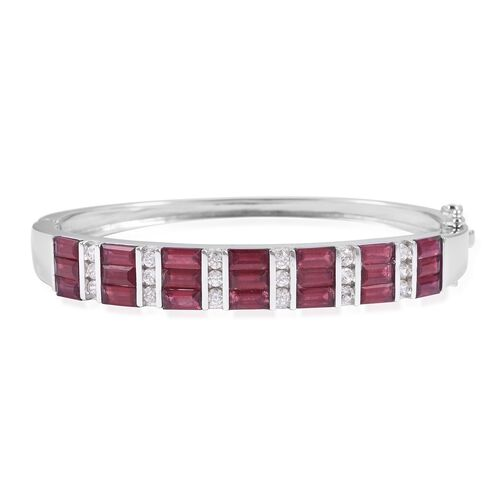 Extremely Rare Cut African Ruby (Bgt), Natural White Cambodian Zircon Bangle (Size 7.5) in Rhodium O
