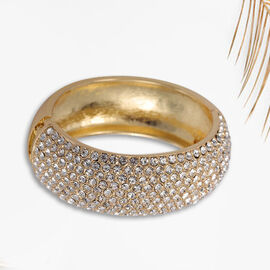 White Austrian Crystal Bangle  in Gold Tone