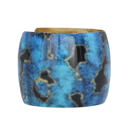 Meena Work Antique Cuff Bangle (Size 7) in Blue